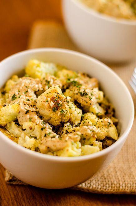 Roasted Cauliflower & Quinoa with Lemon Tahini Sauce (gluten free and vegan)