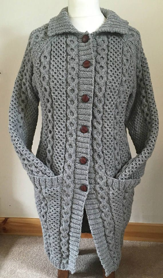 94f95758696d Womens Hand Knitted Wool Coat-Grey Long Cardigan-Buttoned Coat-Cable ...