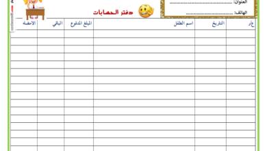 Photo Of دفتر الحسابات و دفتر الز يارات و التفق دات الخاص بمحضنة مدرسية