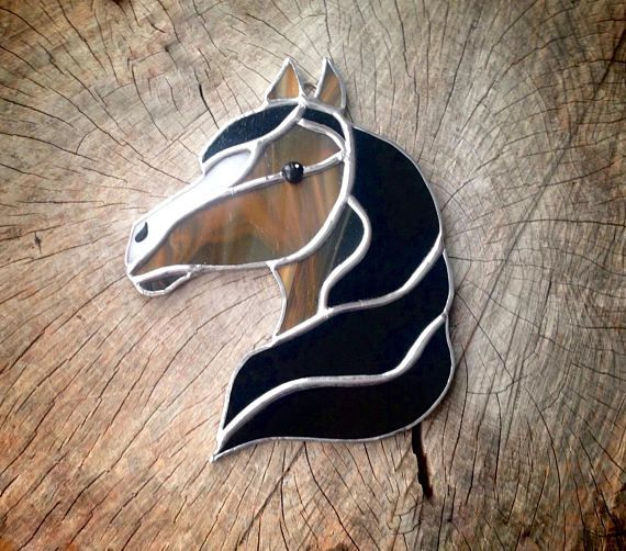 stained glass horse horse decor western decor brown white group