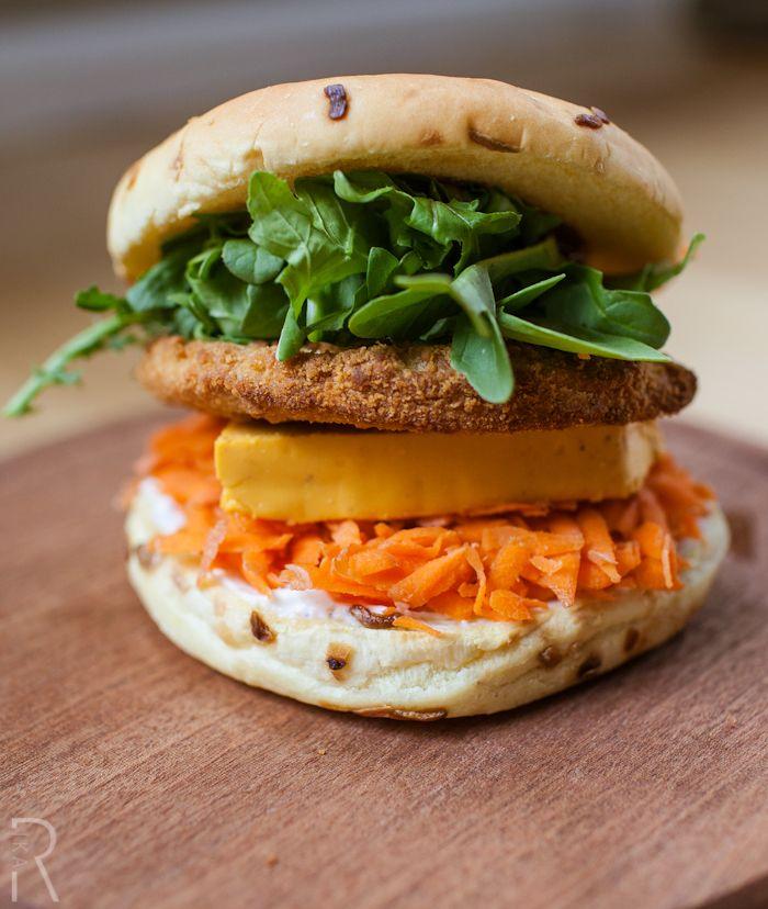 #Vegan Chicken Burger with Ste Martaen Vegan Smoked Gouda Cheese