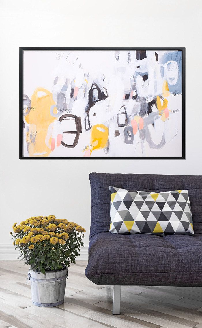 Large Abstract Painting on paper Acrylic painting Grey and yellow ...