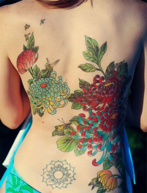 Artistic Colorful Pretty Full Back Tattoo Design For Girls Styles Time Chrysanthemum Tattoo Floral Back Tattoos Cute Girl Tattoos
