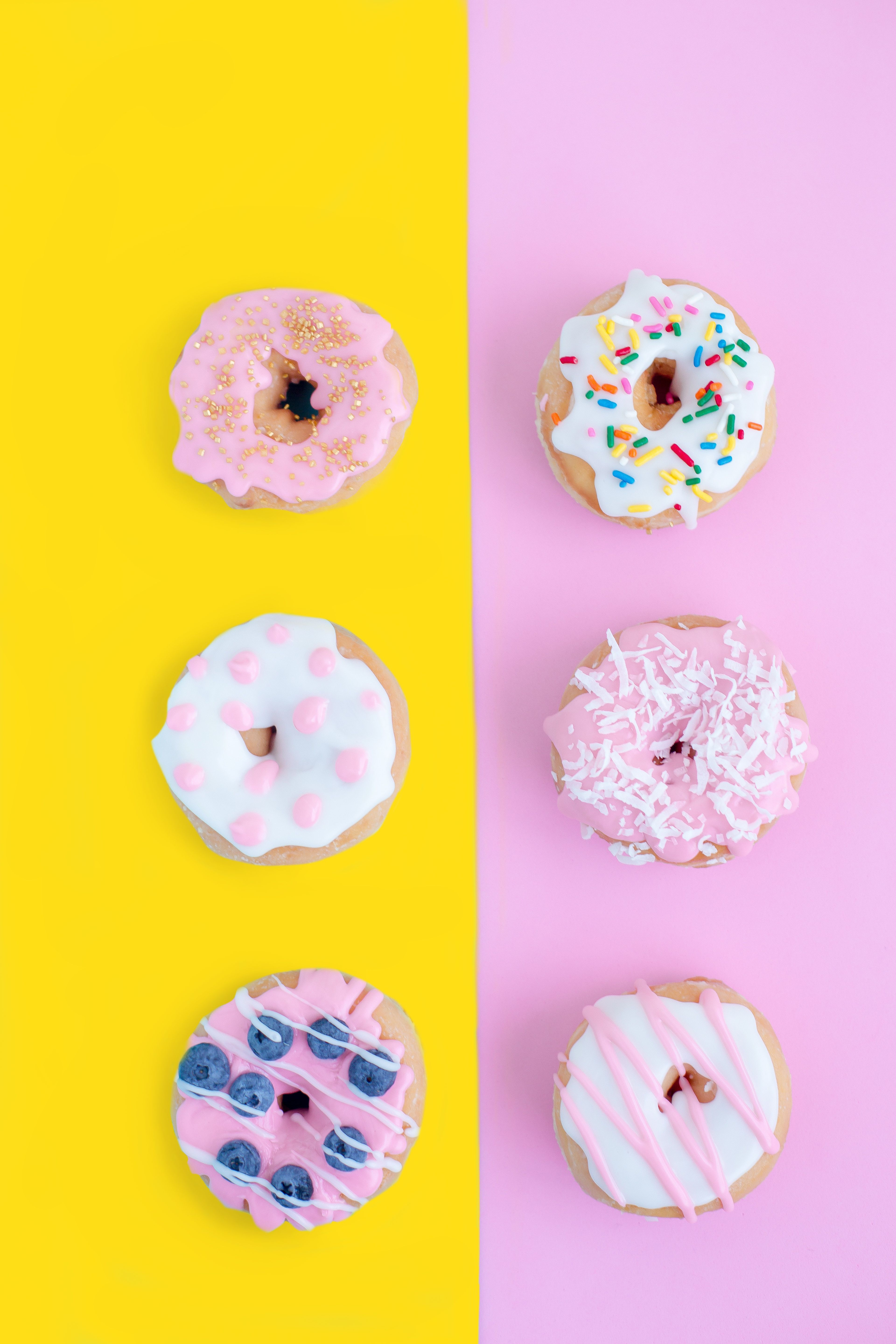 Pink Yellow Donuts Food Pink Yellow Sweets Pastel Photography Wallpaper Pink And Yellow Pink Donuts