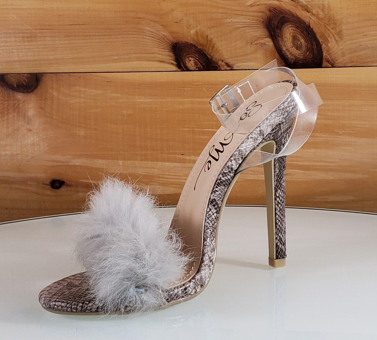 dd1fbbdb36f3 So Me Posh Fur Toe Clear Wrap Strap Marabou High Heel Shoes Snake in ...
