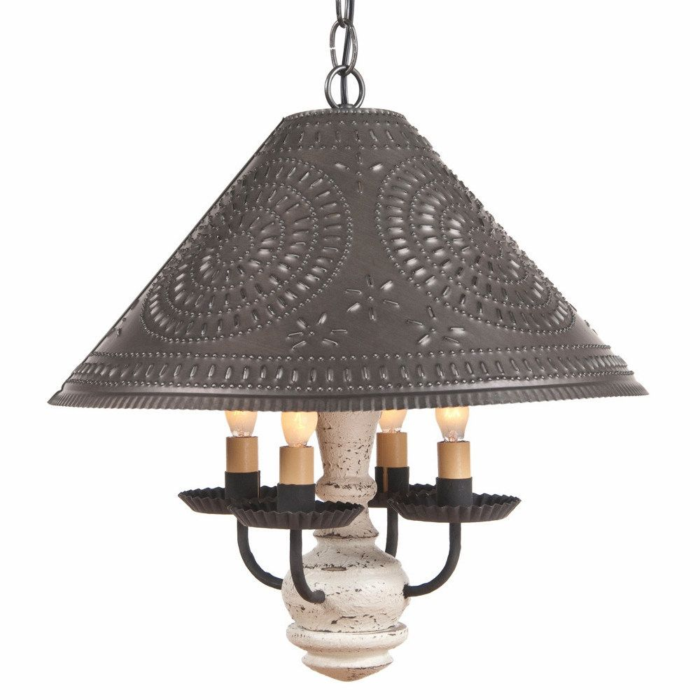 Wood and punched tin pendant light country ceiling lamp u shade in