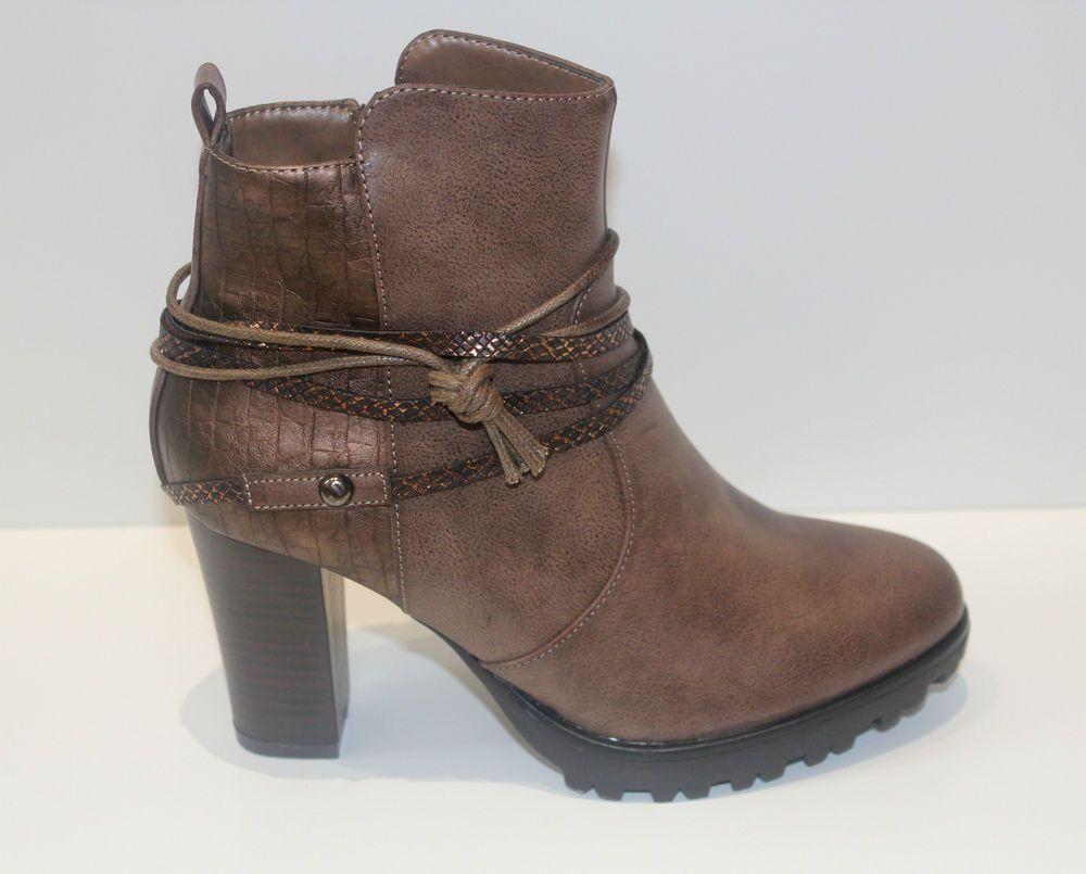 bottines femme boots compensé talon carré haut brun camel 36 37 38