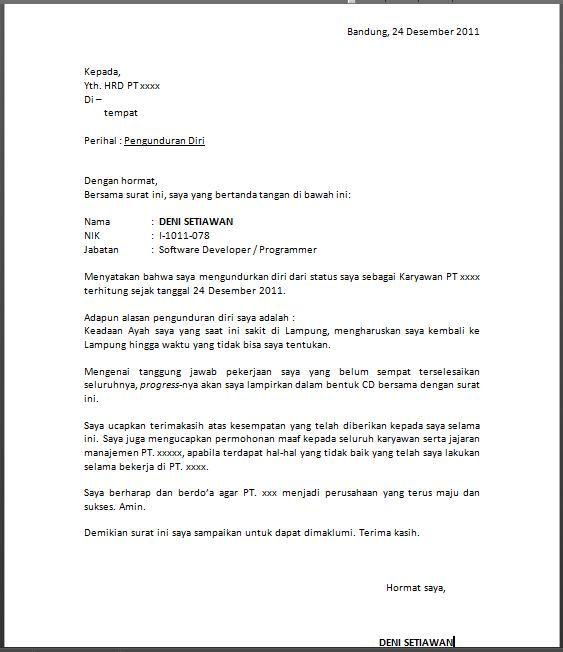 Contoh Surat Pengunduran Diri dari Perusahaan (resign ...