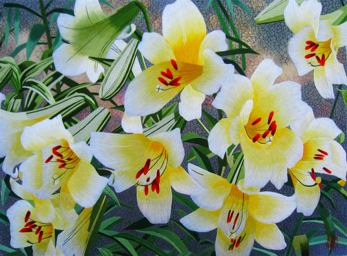 White and Yellow Lilies #Beautiful #Handmade #Silk #Embroidery #Art ...