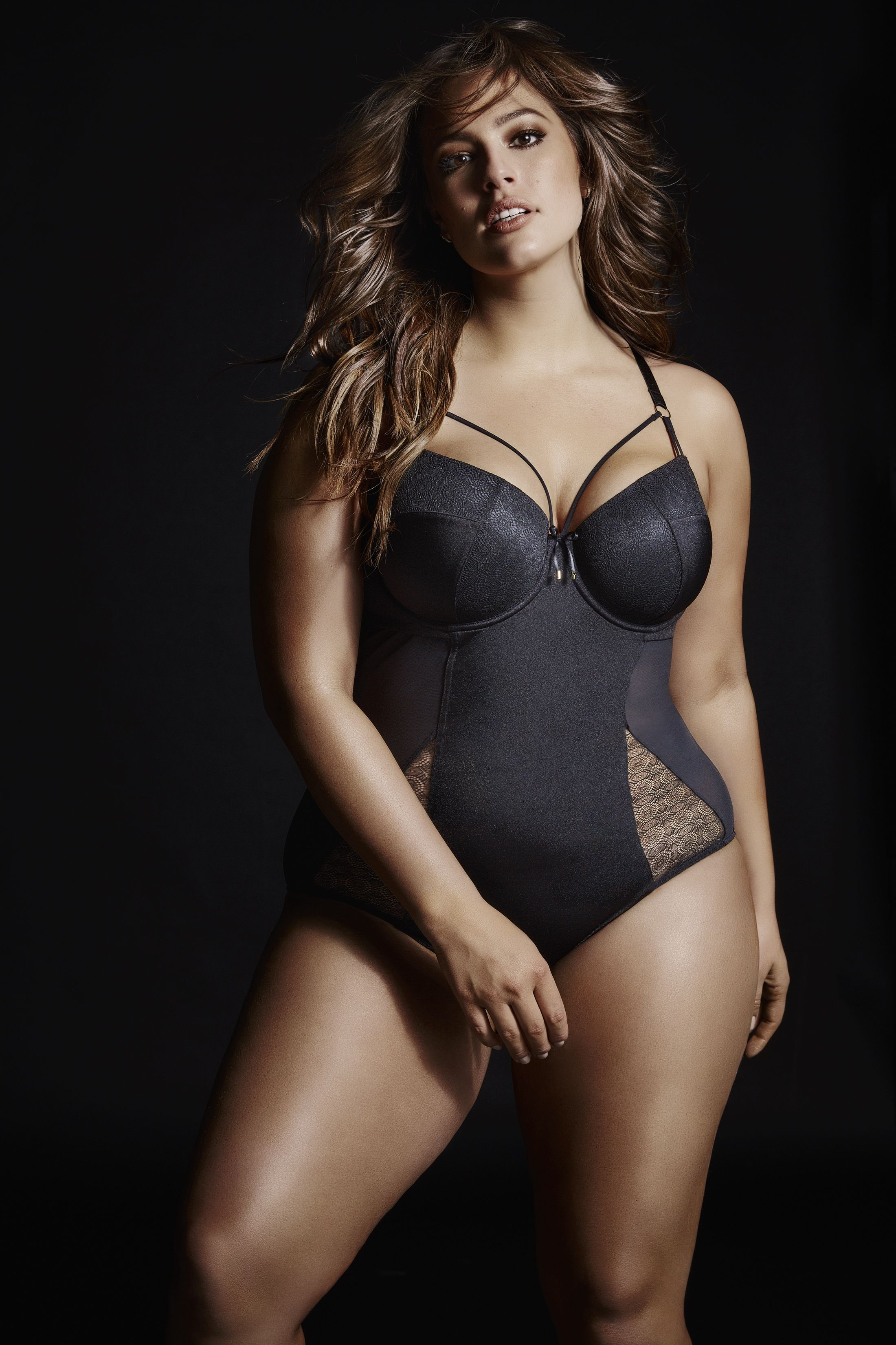 21401d0e1ef Ashley Graham BODYSUIT WITH GEOMETRIC LACE. Sexy from every angle ...