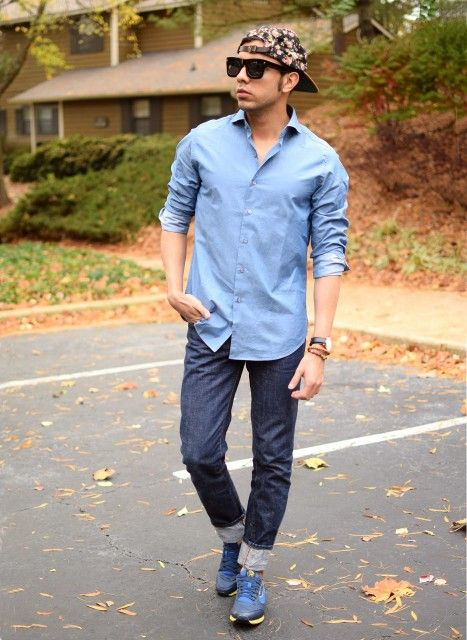 Pin By Lookastic On Jeans Blue Long Sleeve Shirt Navy