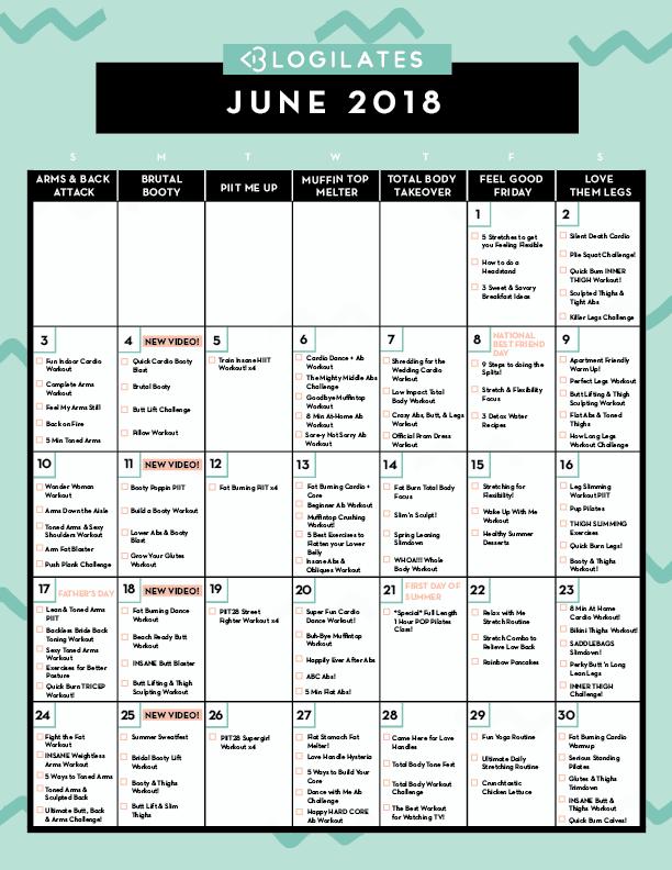 February Workout Calendar Blogilates 2019 Your June 2018 Workout Calendar! | Workout | Workout calendar