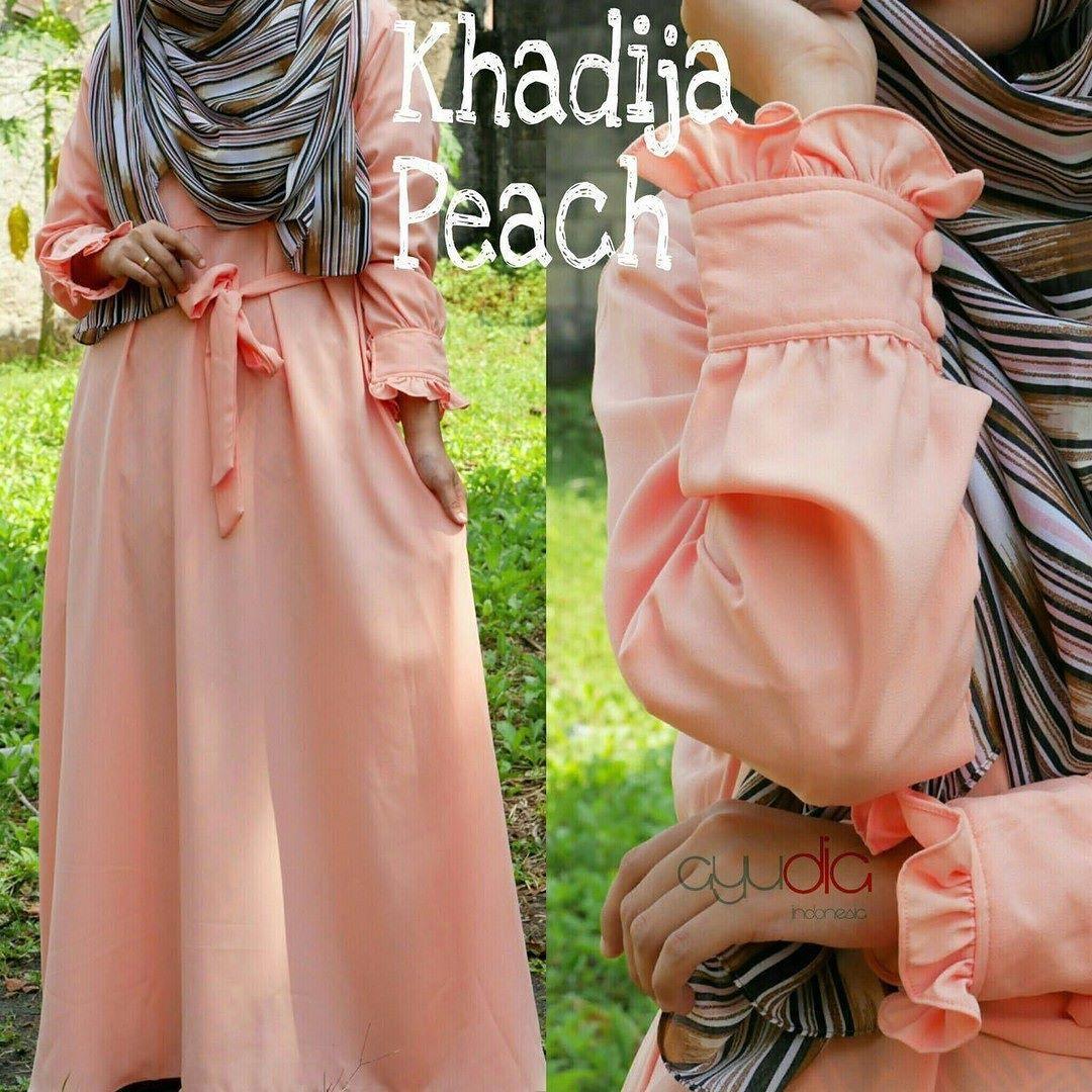 Gamis Ayudia Khadija Caltri Peach Baju Muslim Wanita Muslimah Khimar Maroko Withpet Sj0004 Untukmu Yang Cantik Syari Dan