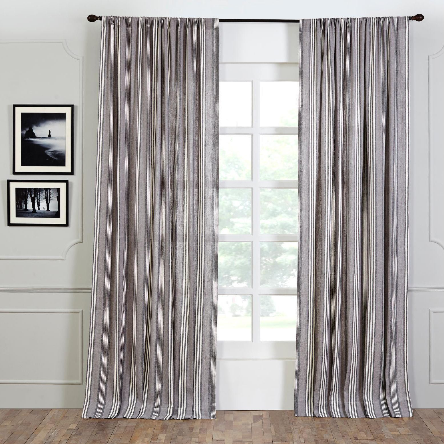 Linen French Stripe 96 Inch Curtain Panel Blue