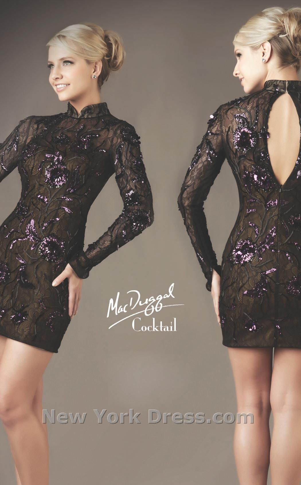 Ornately embroidered mini by mac duggal cocktail minidress with