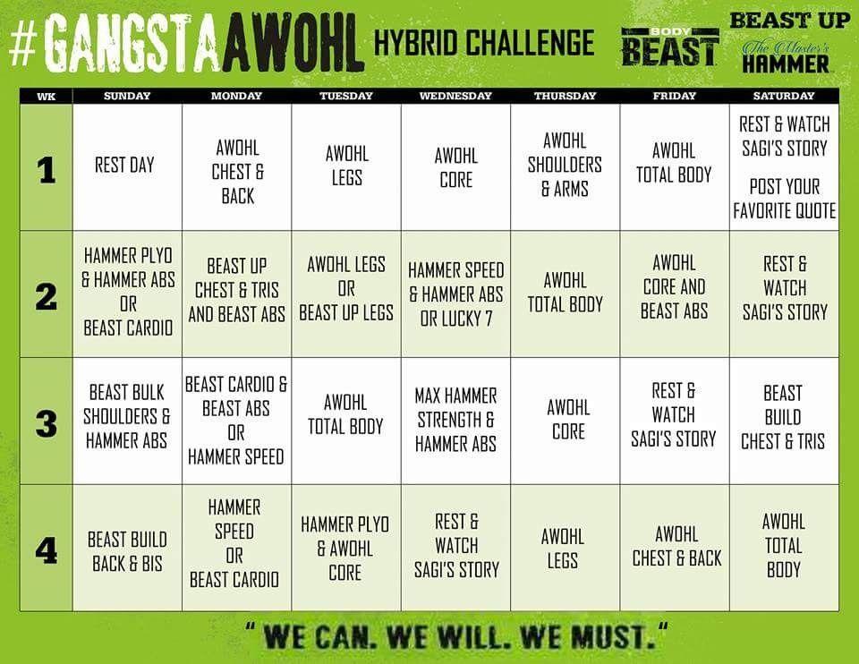 A Week Of Hard Labor Hybrid Calendar 2 Body beast, Body
