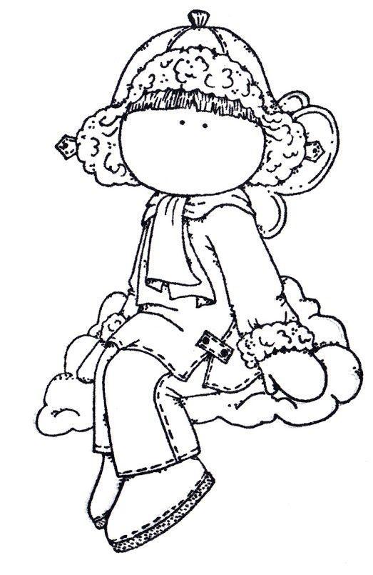 Nina Sentada En Nube Sellos Digitales Dibujos Ilustraciones