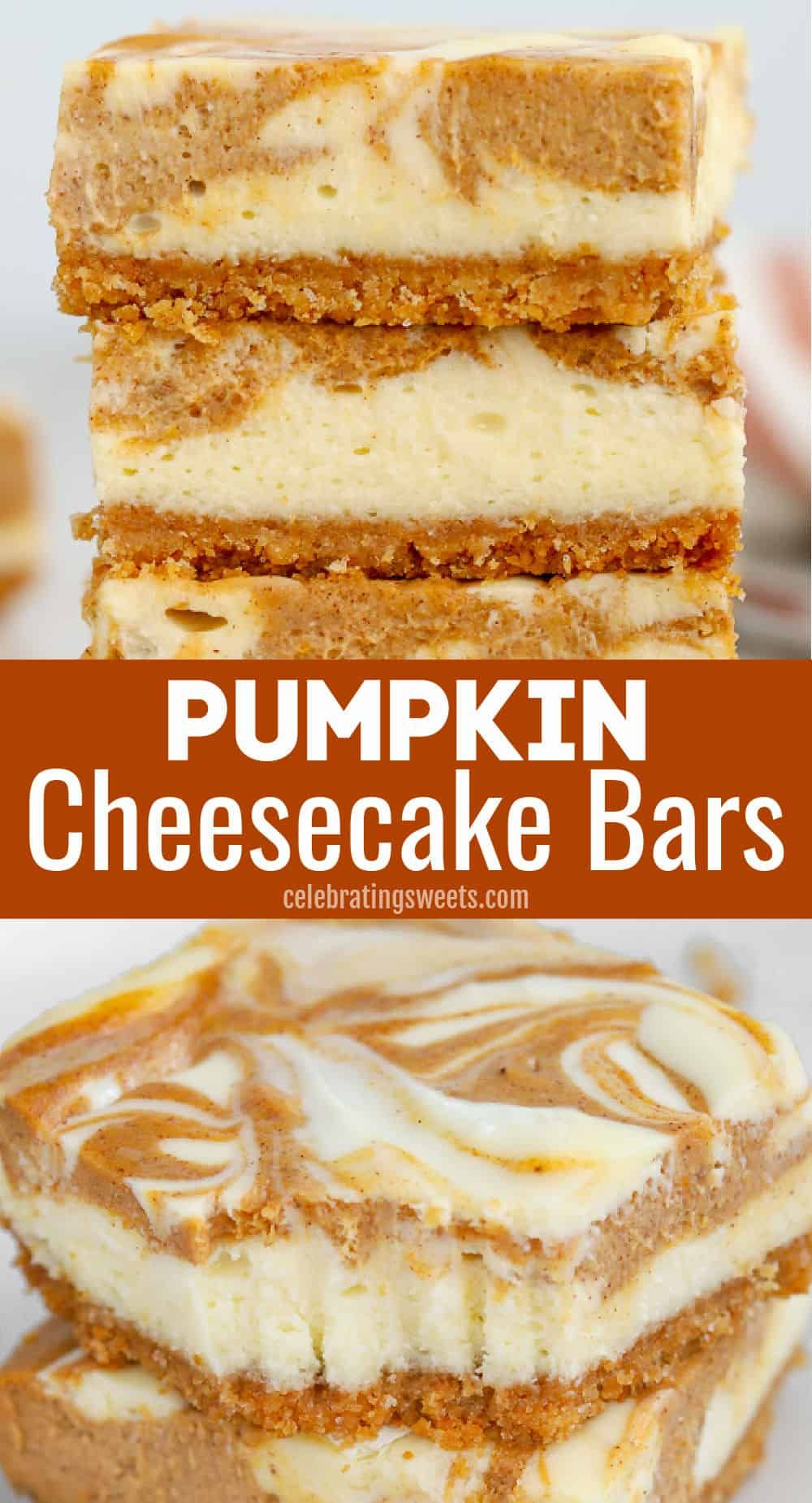 Pumpkin Cheesecake Bars - Celebrating Sweets