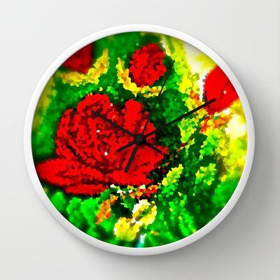 Roses are Red Wall Clock by Saundra Myles - $30.00