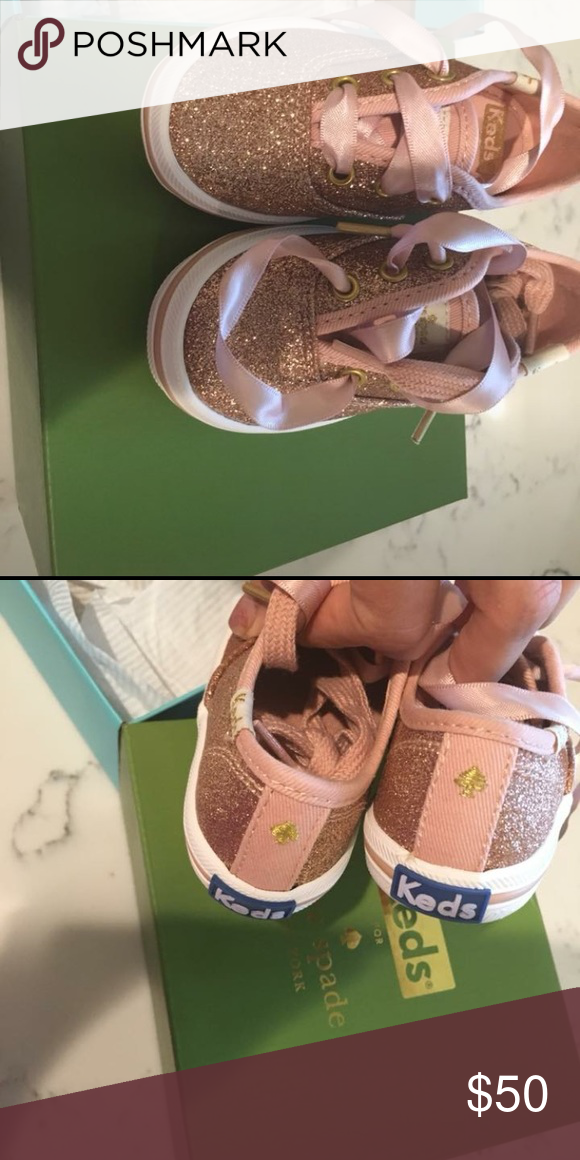 cacbfa033b0d Kate spade toddler rose gold glitter keds Nwb and extra shoe laces. Fit  true to size . Size 5. Have matching mommy shoes Shoes Sneakers