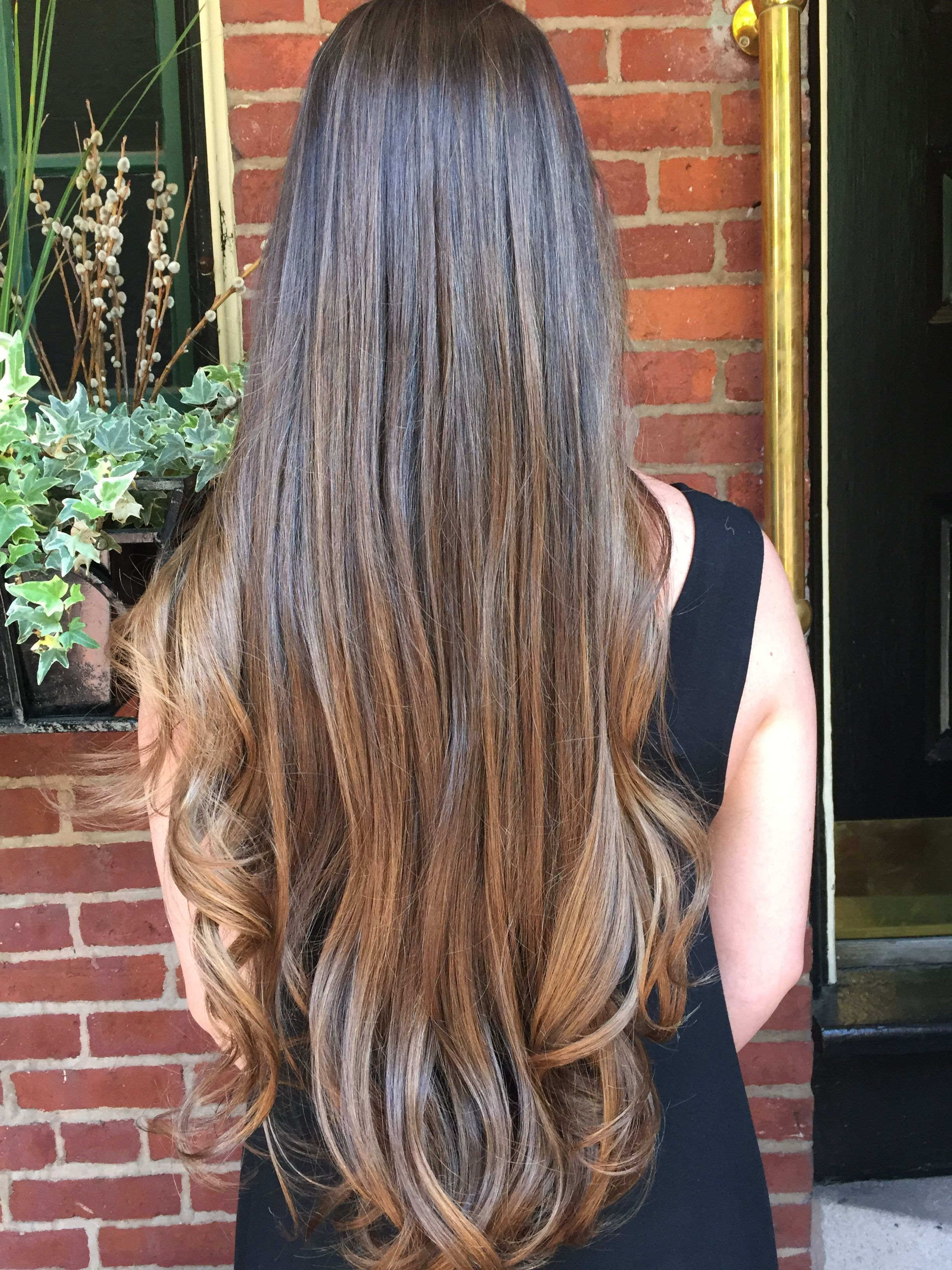 Brunette And Caramel Balayage Waist Length Hair Long Layered Hair Brunette Hair