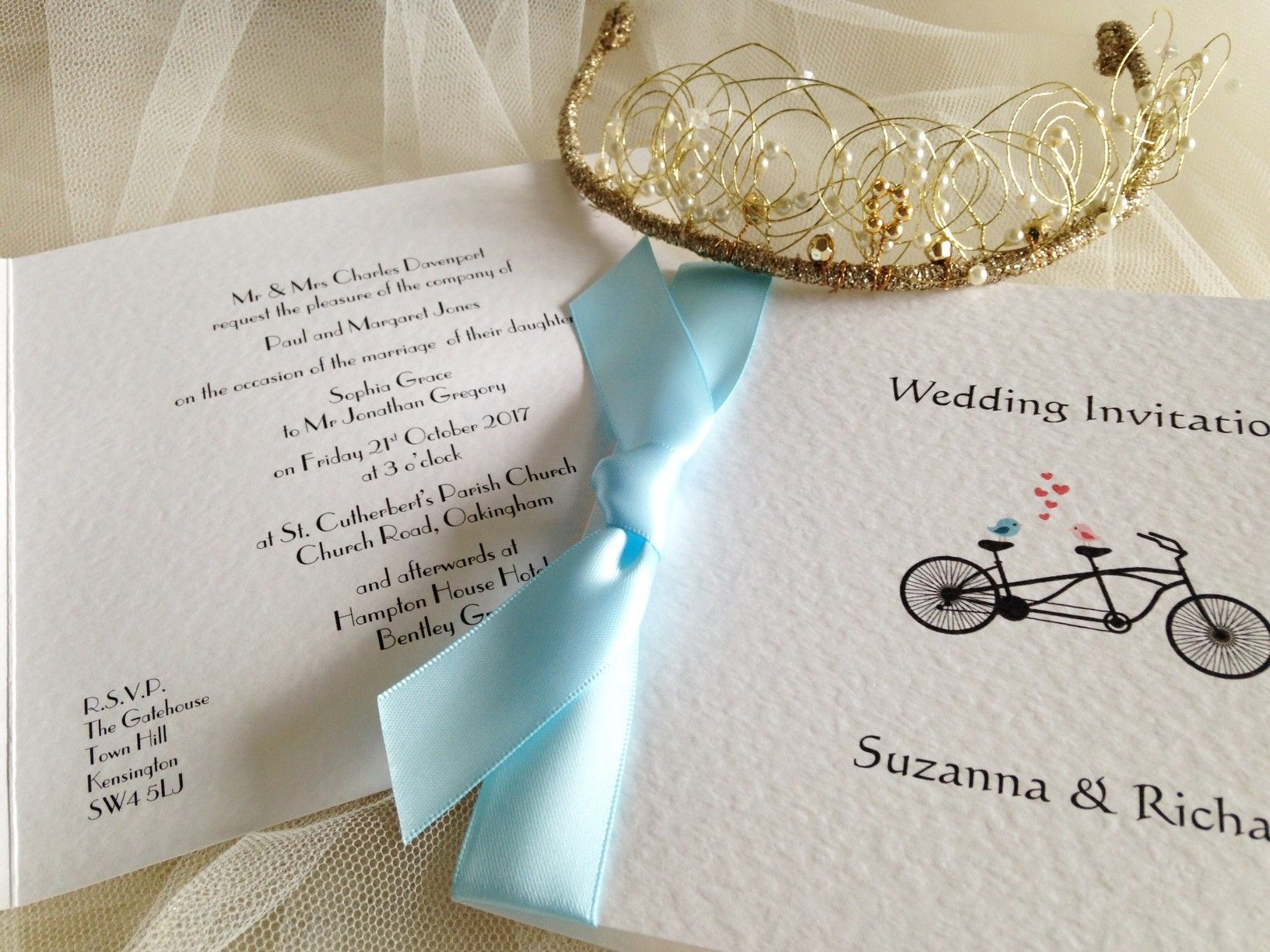 Tandem Bike Square Centre Fold Wedding Invitations | Wedding ...