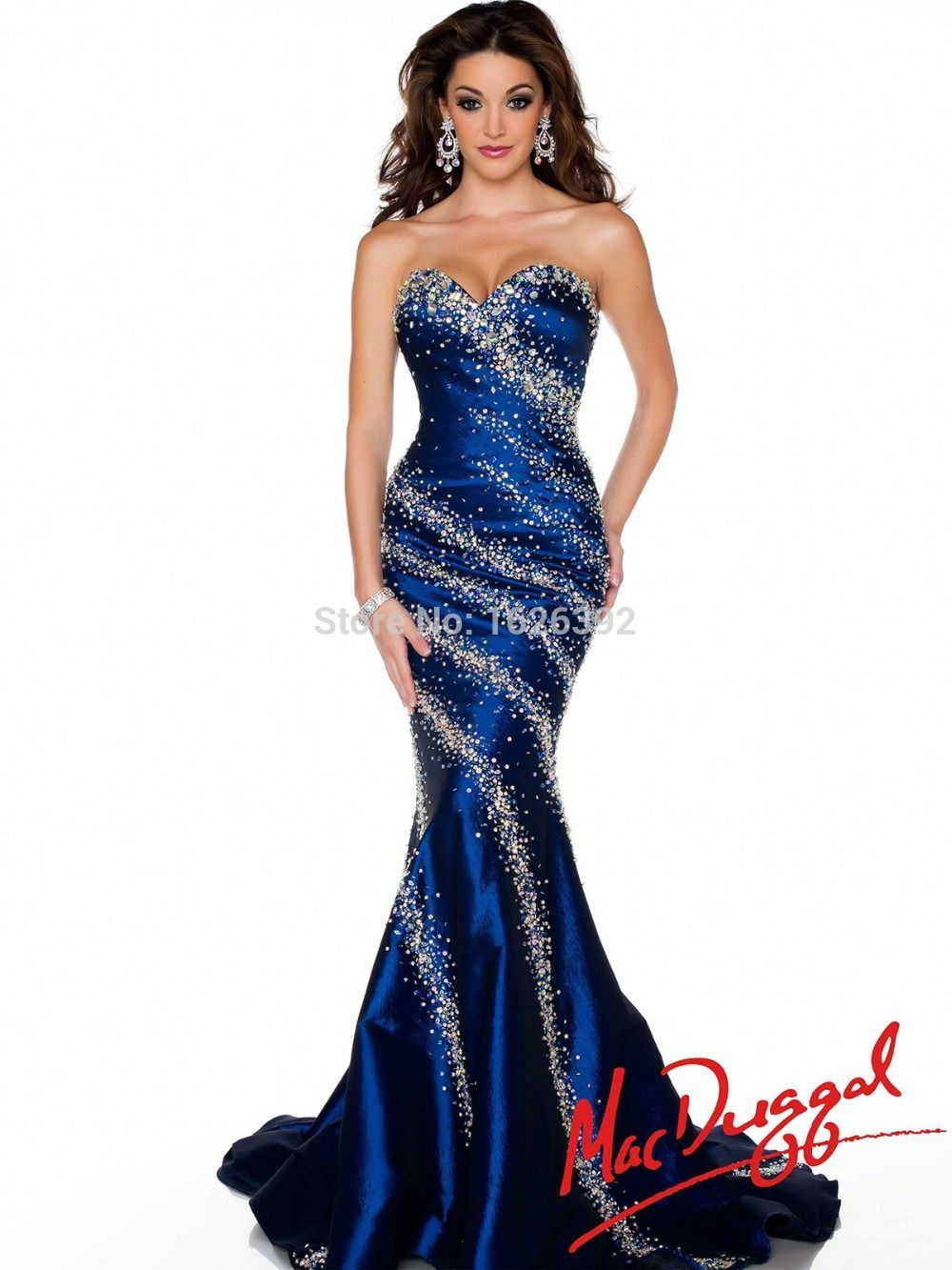 Sparkle Crystals Beaded Dress Long Sweetheart Royal Blue Mermaid ...