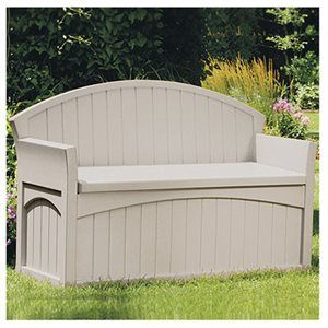 Suncast Patio Storage Bench Taupe Resin 52 X 19 X 34 In 50 Gals Model Pb6700 True Value Hardware Sto Patio Storage Outdoor Storage Bench Suncast Patio