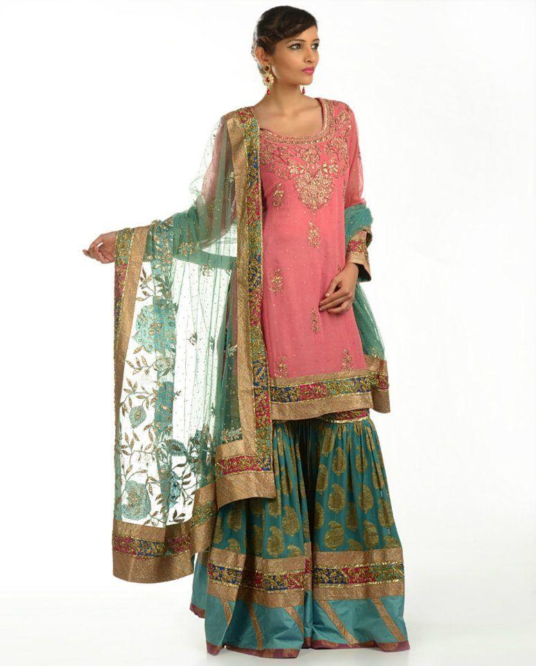 Ritu Kumar. Bubblegum Pink and Sea Green Sharara Suit with Gota Patti Work