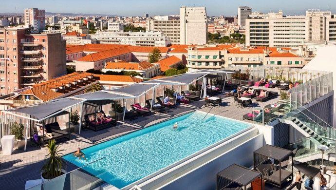 Rooftop pool epic sana lisboa hotel lisbon portugal igottatravel europe pinterest for Lisbon boutique hotel swimming pool