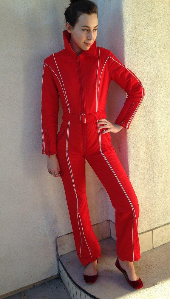 3267882084 Vintage skiwear by Innsbruck red hot jumpsuit or by NelandAda Women s  vintage 70s 80s ski fashion jacket snow suit