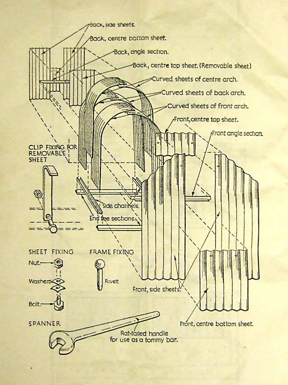 Original assembly instructions for the Anderson shelter