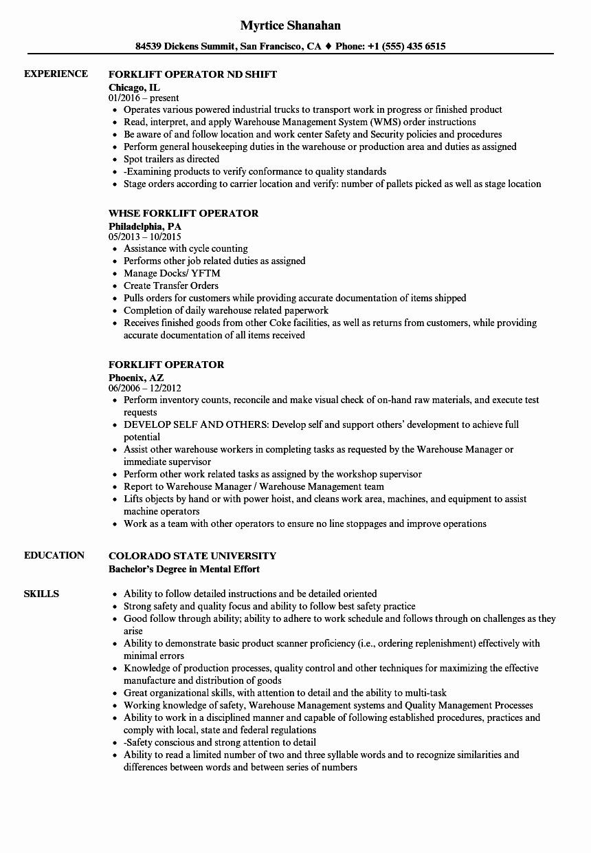Certified forklift Operator Resume Fresh Luxury forklift