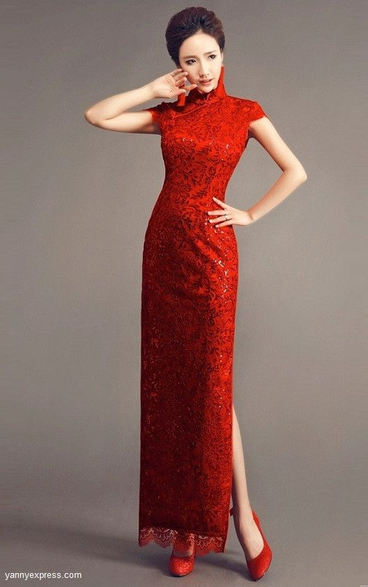 Chinese Wedding Gown Traditional Bridal Reception Cheongsam