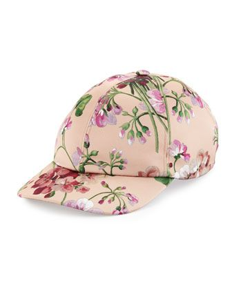 7f61d517b3c Floral Satin Baseball Cap by Gucci at Neiman Marcus.