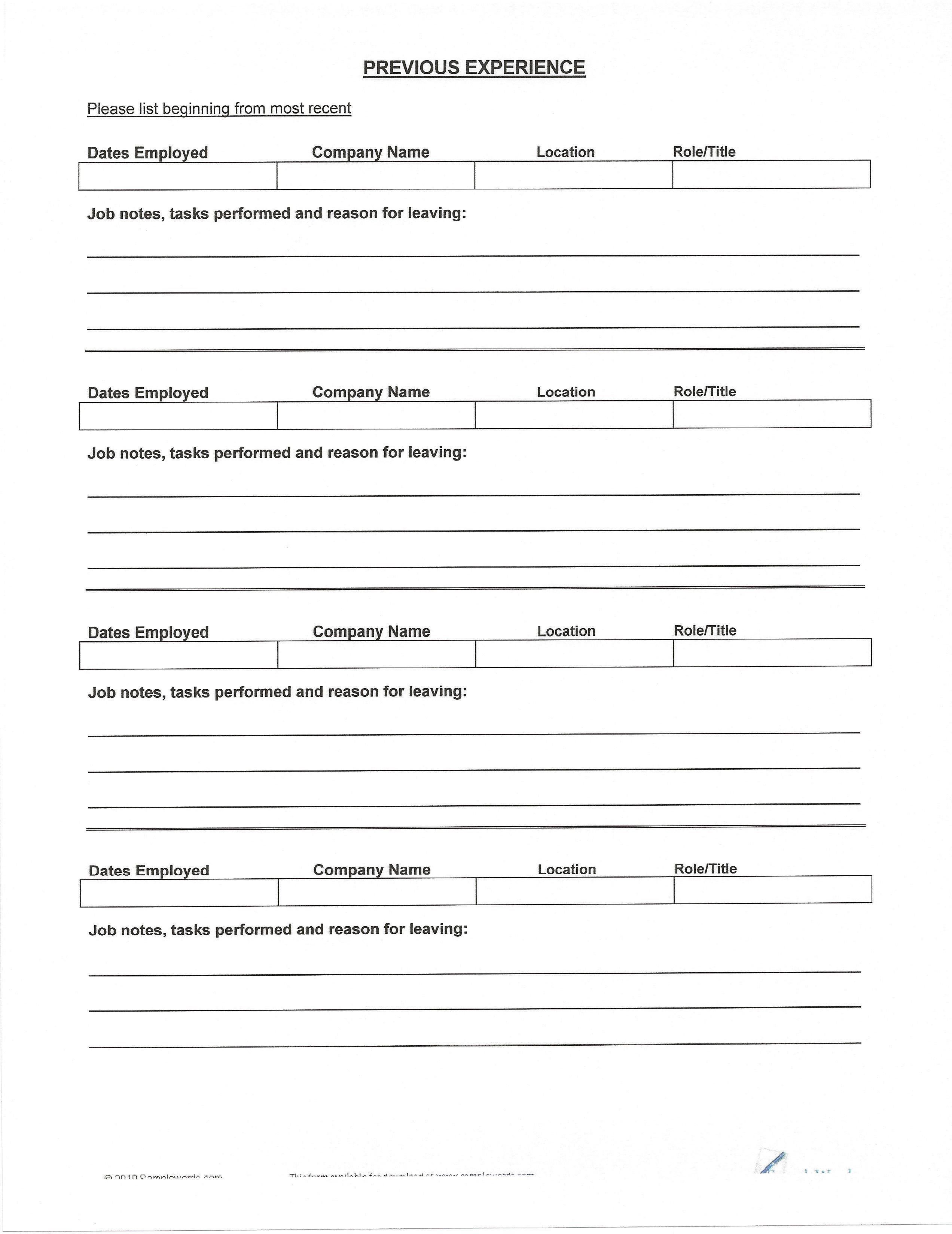 Resume Templates You Can Fill In Resume form, Resume