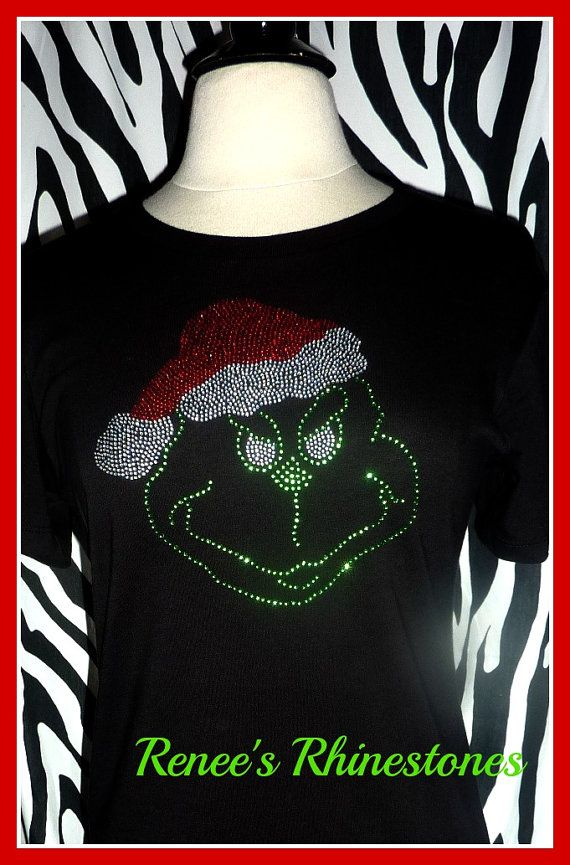 7f3e20ce7d875 The Grinch Christmas T shirt Rhinestone Christmas shirt Christmas Bling-Holiday  shirt Mr Grinch on Etsy, $18.00