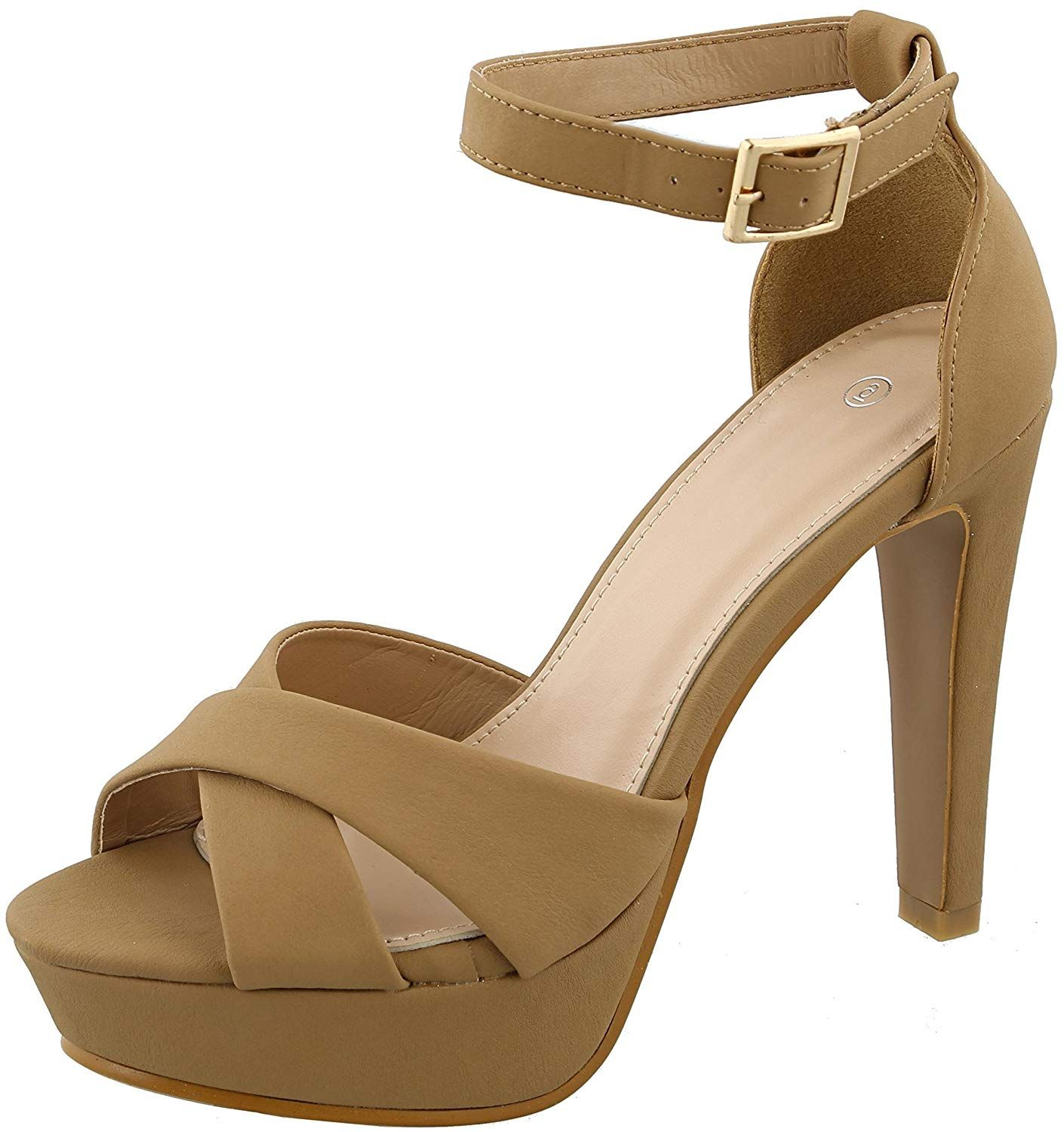 6153cebce04e Cambridge Select Women s Peep Toe Crisscross Buckled Ankle Strappy Chunky  Platform Tapered High Heel Sandal.