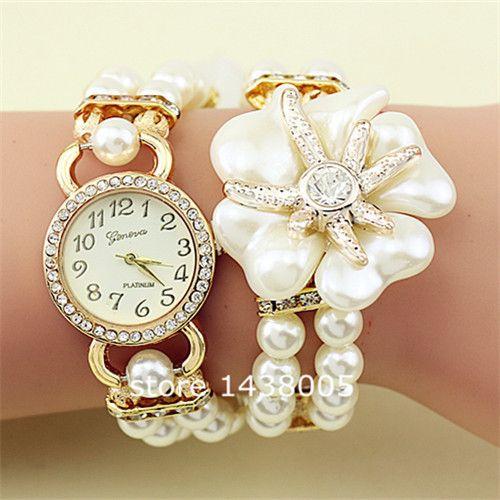9837b15c9f4 Venda quente 11 cores moda feminina pulseira de pérolas de luxo relógios de  pulso das mulheres