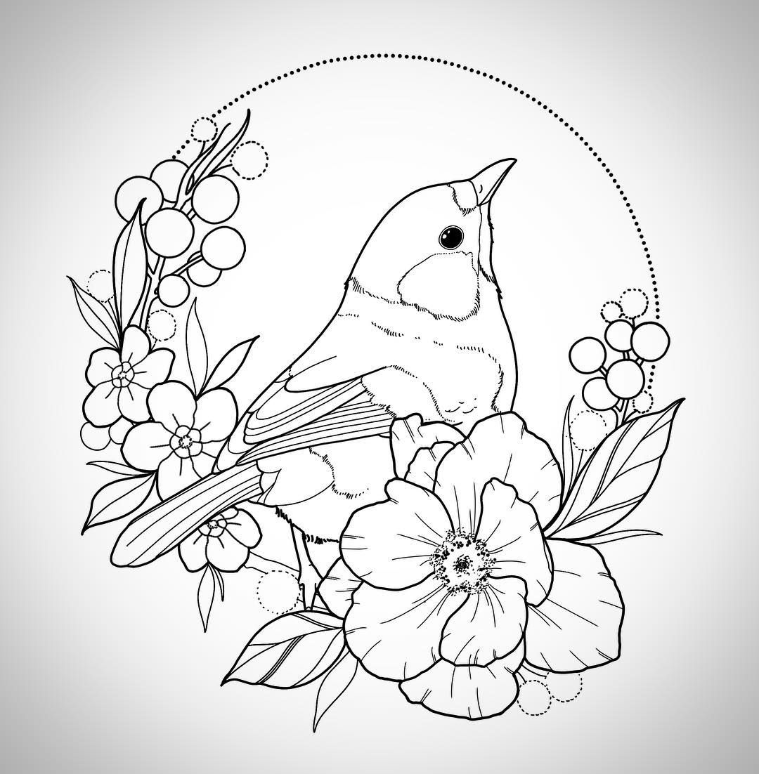 Where;s Spring drawing Bird drawings, Flower drawing