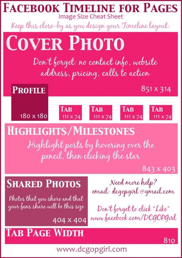 Facebook Timeline Image Cheat Sheet