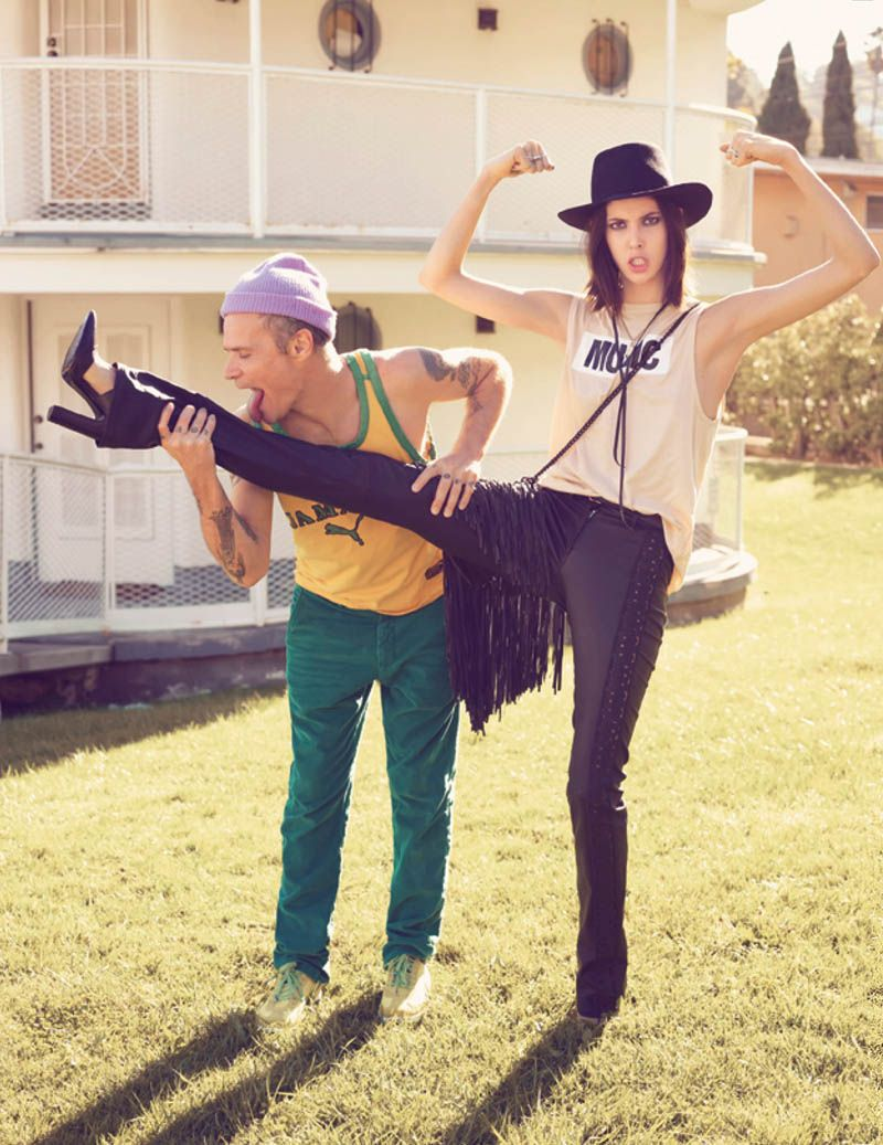 Ruby Aldridge rubs shoulders with rock star royalty in the April 2013 edition of Vogue Russia (here with Flea)