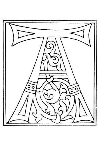 Dibujo para colorear 01a. alfabeto A | Lettrines | Pinterest ...
