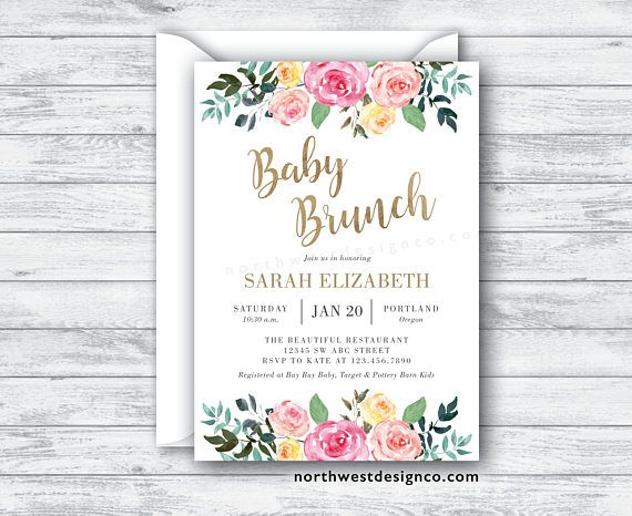 floral baby brunch invitation gold baby shower invite pink boho baby