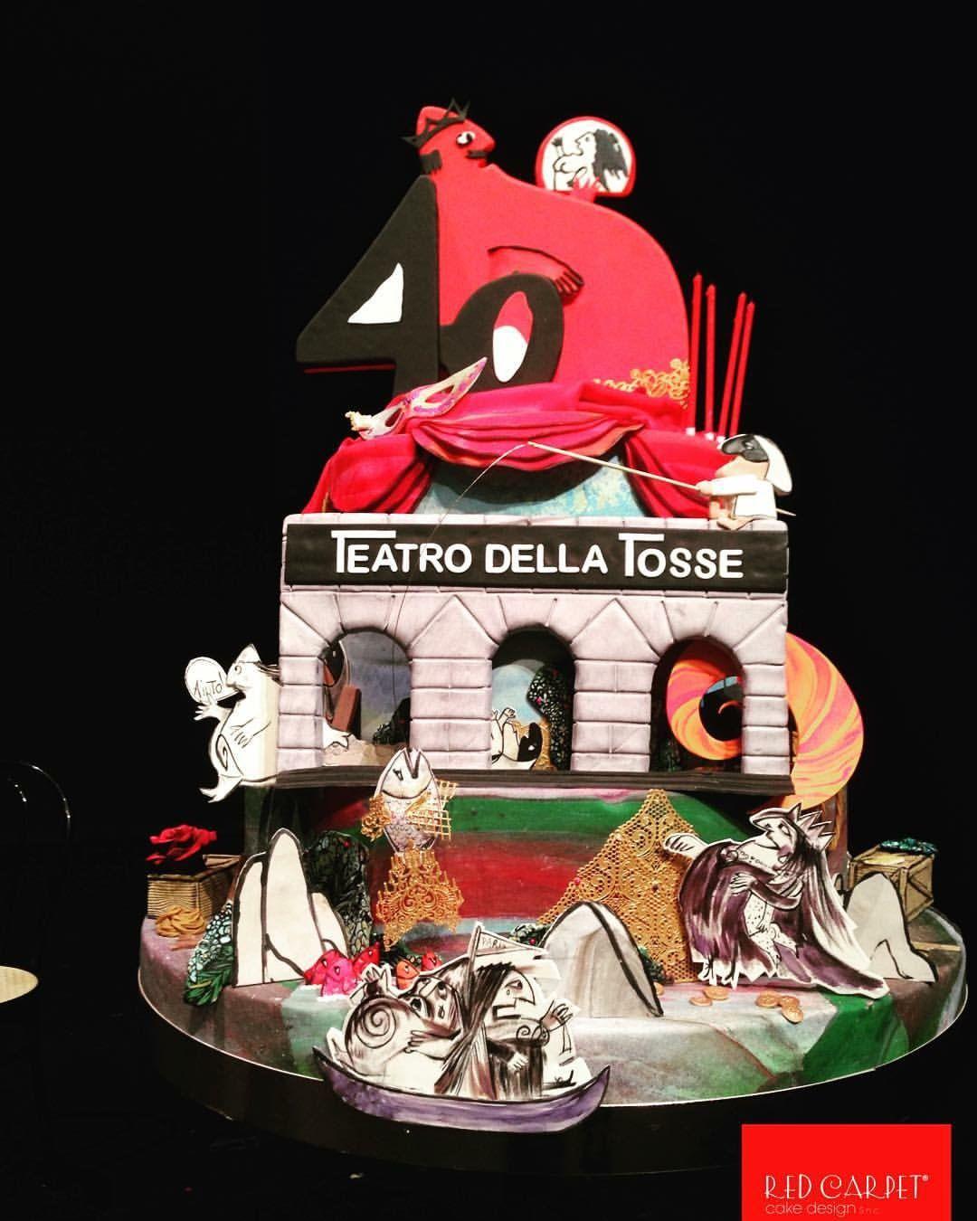 Theatre Cake(for 40' birthday Teatro della Tosse- Lele Luzzati) by RedCarpetCakeDesign www.redcarpetcakedesign.it
