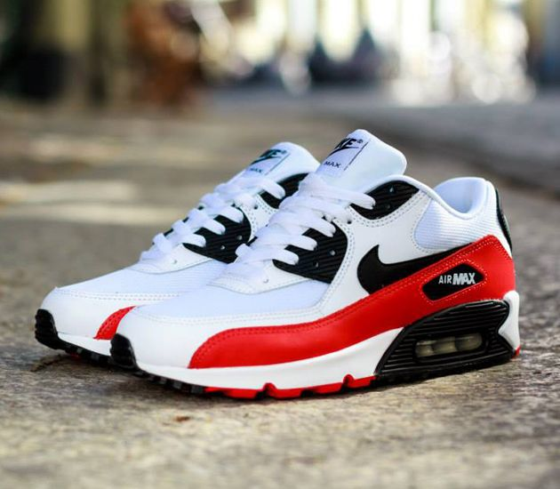 Nike Air Max 90 Essential - White / Black - Light Crimson - Neutral Grey