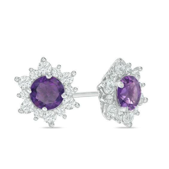 Zales Oval Lab-Created Opal, Amethyst and White Sapphire Sunburst Frame Stud Earrings in Sterling Silver
