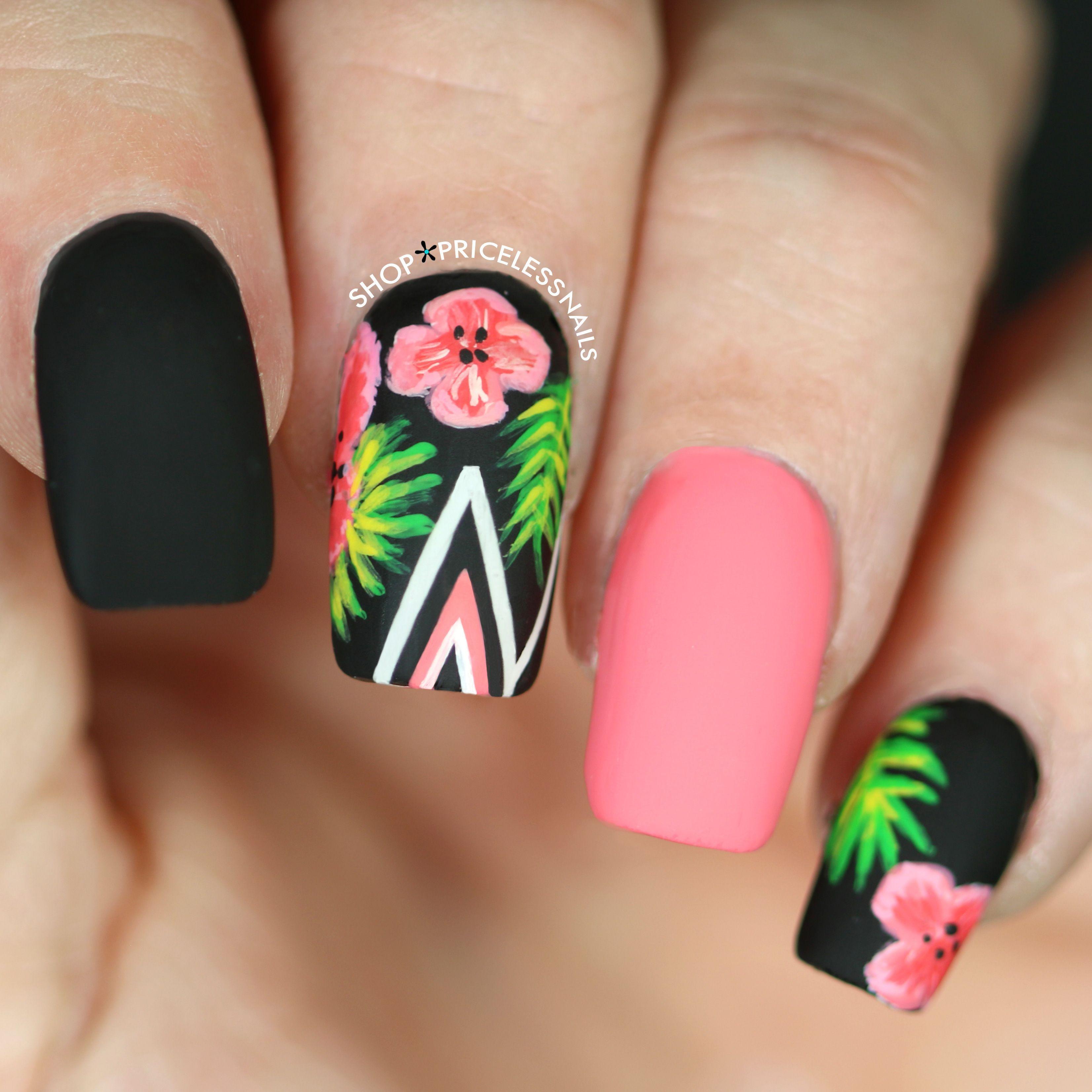 Palm Leaves Hibiscus Flowers Unas Florales Manicura De Unas Unas Tropicales