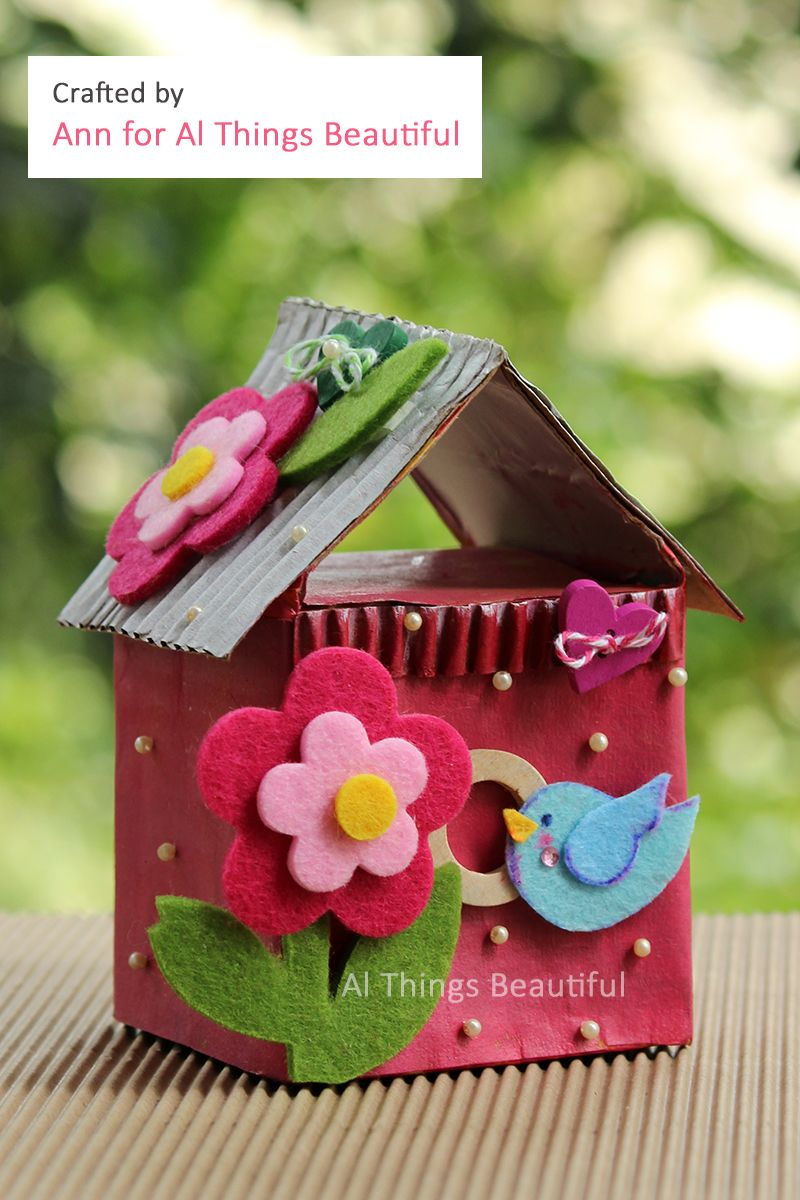 Repurpose Tetrapaks To Make Beautiful Crafts Decorative Bird Houses Diy Bottle Crafts Crafts