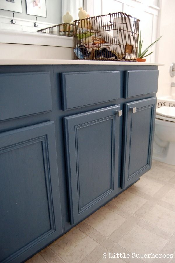 Painted blue bathroom cabinet you 39 ll love this simple - How do you paint bathroom cabinets ...